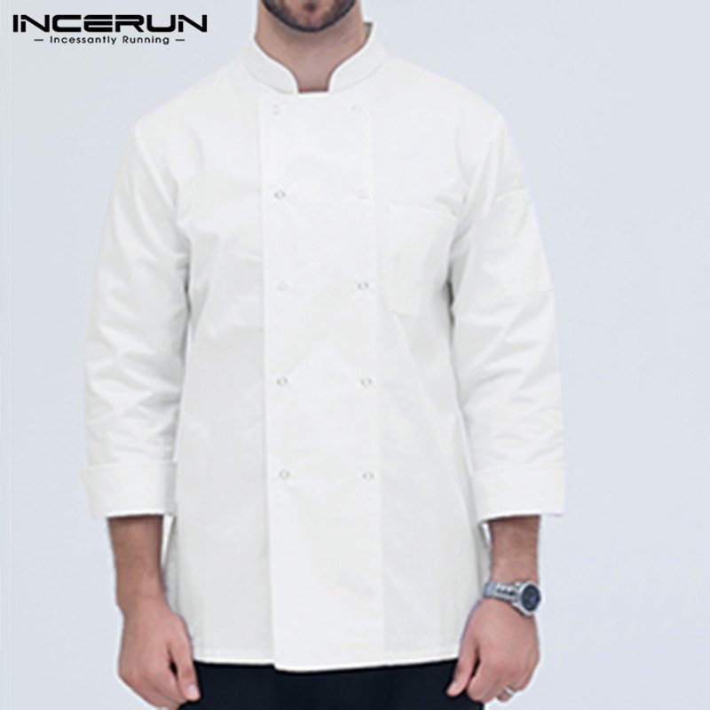 Casual Long Sleeve Chef Jackets Solid Double Breasted Kitchen Tunic Restaurant Catering Chef Uniform Unisex Shirts S-5XL INCERUN