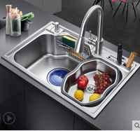 NEW Kitchen Sinks Home standard kitchen single trough sink high capacity wash vegetables 304 stainless steel luxury