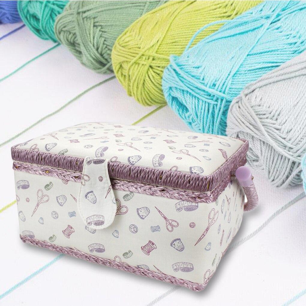 Vintage Sewing Basket Printing Sewing Tools Storage Box With Built-in Pin Cushion And Interior Pocket