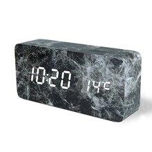 LED Padrão de Mármore Despertador Criativo Led Relógio De Mesa Eletrônico De Controle De Voz Digital Indicador de Temperatura USB/AAA Alimentado