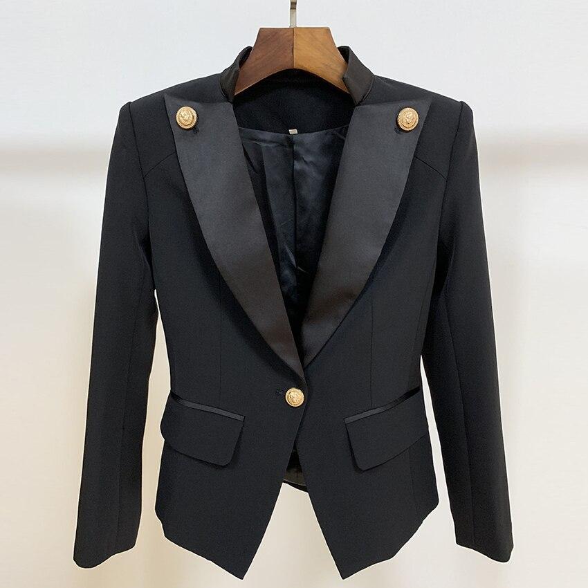 HIGH STREET Neue 2019 Designer Stilvolle Blazer frauen Single Button Lion Taste Verschönerte Satin Kragen Blazer Jacke - 5
