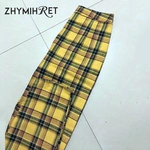 Image 4 - ZHYMIHRET Pantalon taille haute jaune à carreaux, Pantalon dété pour Femme, ample, fermeture éclair sur le côté, collection décontracté