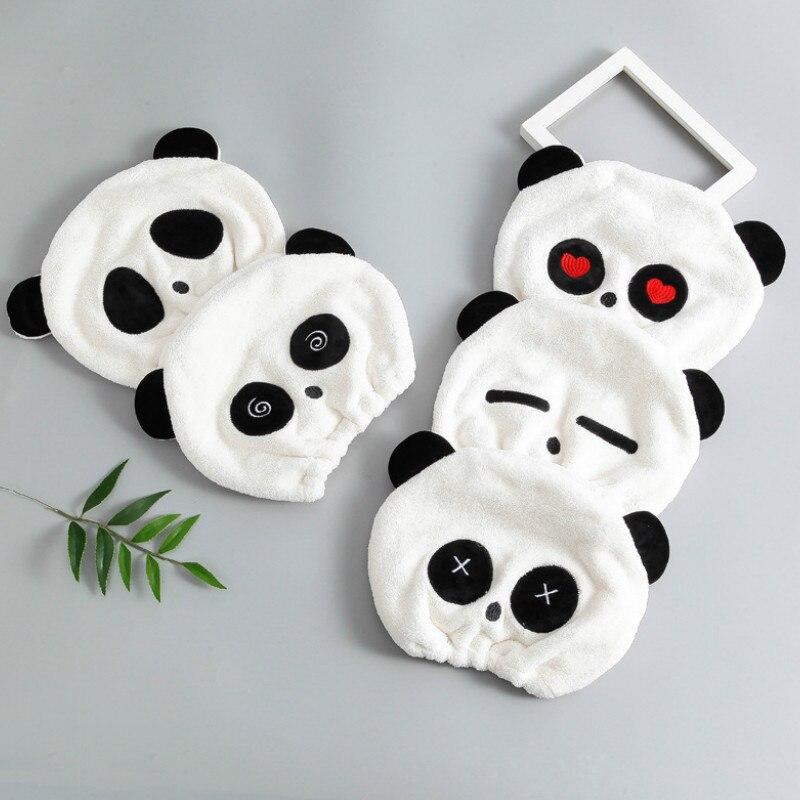 1pcs Cartoon Cute Panda Shower Cap Microfiber Hair Turban Quickly Dry Hair Hat Wrapped Towel Bathing Shower Cap Bathroom Cap