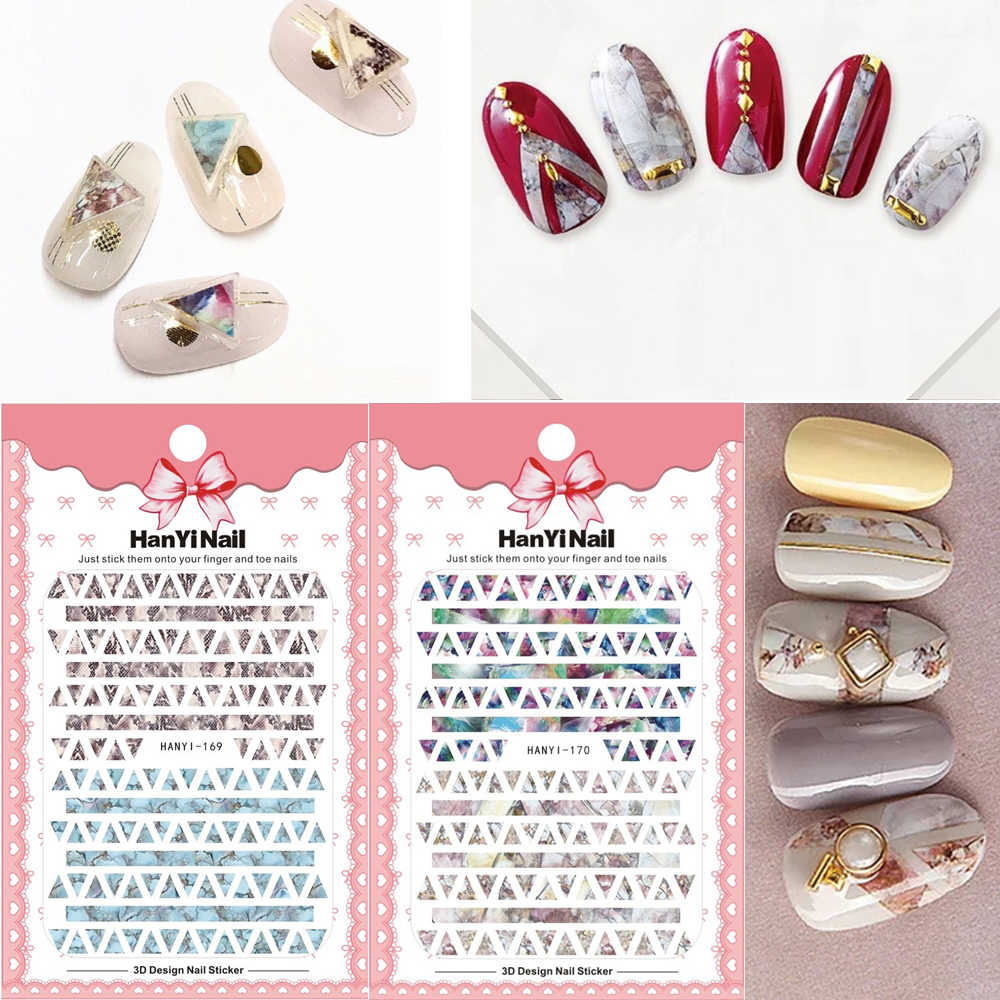 1 Pc Snake Ontwerp 3d Nail Sticker Marmering Print Sticker Voor Nail Decorations Landschap Streep Nail Decal Decoraties Stickers