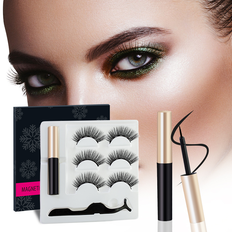 3D Magnet Eyelash 3 Pairs/set Magnetic Liquid Eyeliner Kit Natural False Mink Eyelashes Waterproof Long Lasting Eyelash Makeup