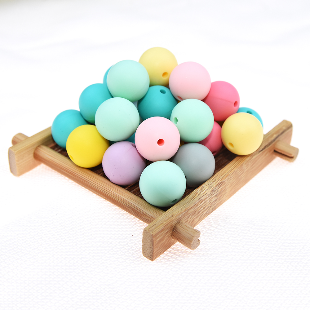 Happyfriends 30pcs 19mm Non Toxic Baby Teether Toys Soft Silicone Round Beads DIY Jewelry Making