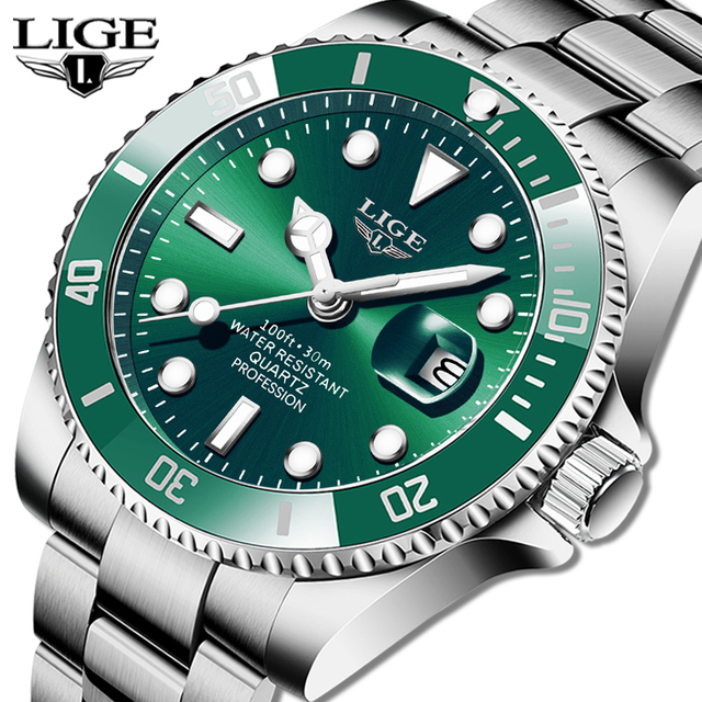 LIGE Top Brand Luxury Fashion Diver Watch Men 30ATM Waterproof Date Clock Sport Watches Mens Quartz Wristwatch Relogio Masculino 1