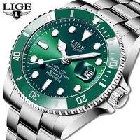 LIGE-reloj deportivo de cuarzo para hombre, accesorio Masculino de pulsera resistente al agua 30ATM con calendario, complemento Masculino de marca de lujo a la moda