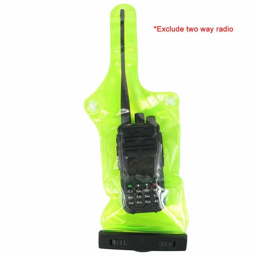 Green Waterproof Transparent Radio Bag Set Case Cover Protector For Walkie M5TD