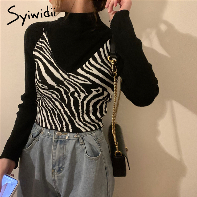 Syiwidii Zebra Pattern Crop Top for Women Knitted Striped Short Tank Tops Cute Girls 2021 Summer Korean Tank Top Black Clothing 3
