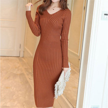 Fashion Knitted Dress Women Sweater Dresses Elegant  V-Neck Bottom Sweaters High Waist Bodycon