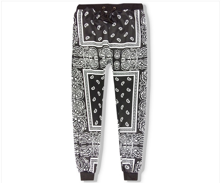 High New Novelty High Luxury 19ss Men West Coast CRIPS Comfortable Classic Paisley 4 White Casual Pants Sweatpants #E18
