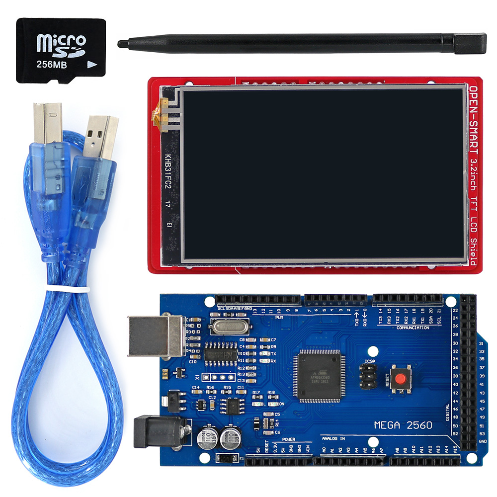 3,2 tum TFT LCD-skärmmodul Touch Screen Shield Kit ombord temperatursensor + Touch Pen / TF-kort / Mega2560 för Arduino