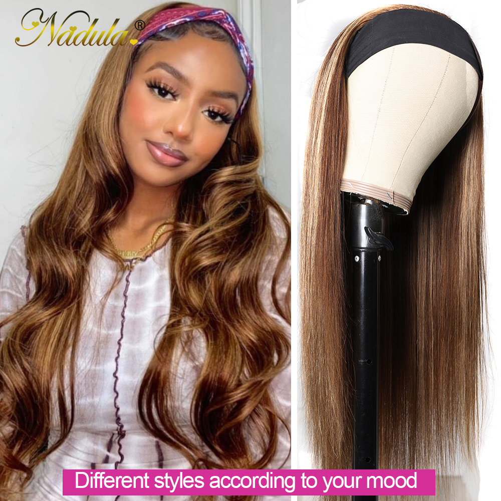 Nadula Highlight Straight  Headband Wigs 12-26inch Headband Wig  150% Density Honey Blonde Glueless Wigs 2