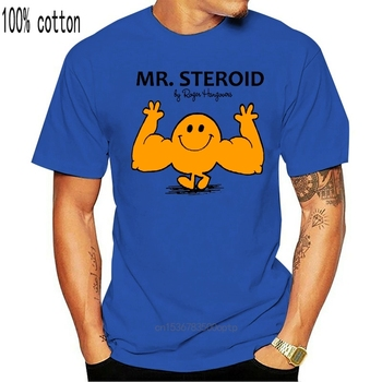 Mr Steroid Funny Mens Gymnasium Trainer Workout Muscles White Novelty New T Shirt 100% Cotton Fashion T-shirts image