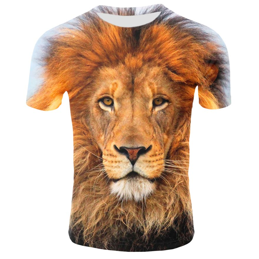 New Fashion Lion 3D Printed T Shirt Animal Pattern Summer Short Sleeve Round Neck Top Tees Men's Tshirt