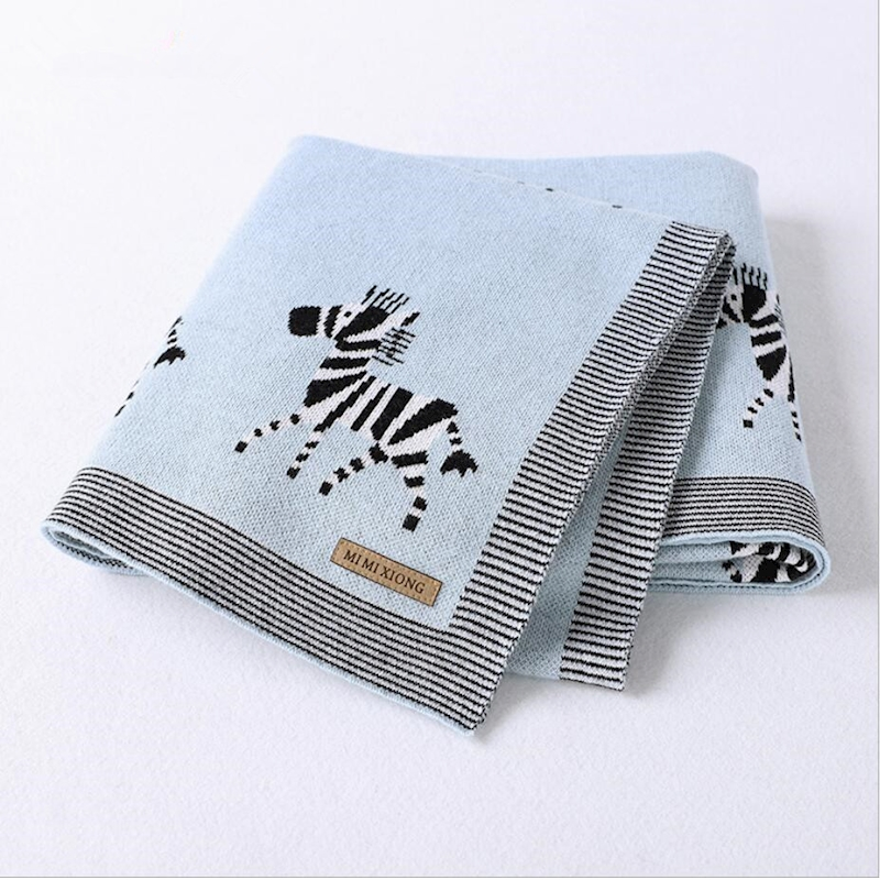 Cartoon Zebra personalised baby boy blankets baby knit blanket soft toddler swaddle blankets couverture bebe coton babydeken