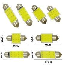 Promoção c5w c10w led cob festão 31mm 36mm 39mm 41mm 12v lâmpadas para carros placa de licença interior luz leitura 6500k 12smd 1pc