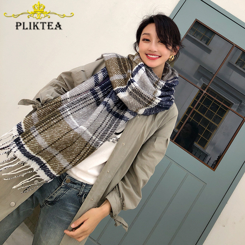 Design Army Green Patchwork Woman Winter Scarves 2019 Faux Cashmere Female Tippet Scarf Ladies Plaid Shawl Winter Women Wrap