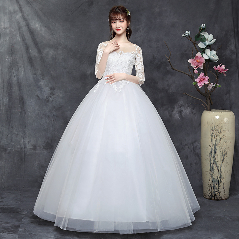 2019 Real Big Yards Dress Fat Mm Bride Show Thin 2020 New Fertilizer Increased Contracted Arm A Word Shoulder Han Edition Axis