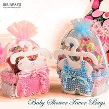 50 adet bebek duş iyilik çanta bebek şişeleri şeker hediye keseleri şeker kutuları bu bir çocuk bir kız parti iyilik doğum günü aksesuarları