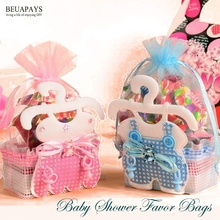 50pcs Baby Shower Favor Bags Baby bottles sugar gift bags candy boxes its a boy its a girl party favors birthday accessories