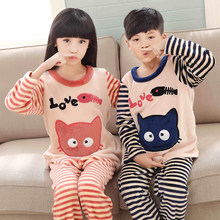 Pajamas set for children winter kid's home clothes boys cute cartoon long sleeved flannel sleepwear 2019 warm girls homewear set(China)