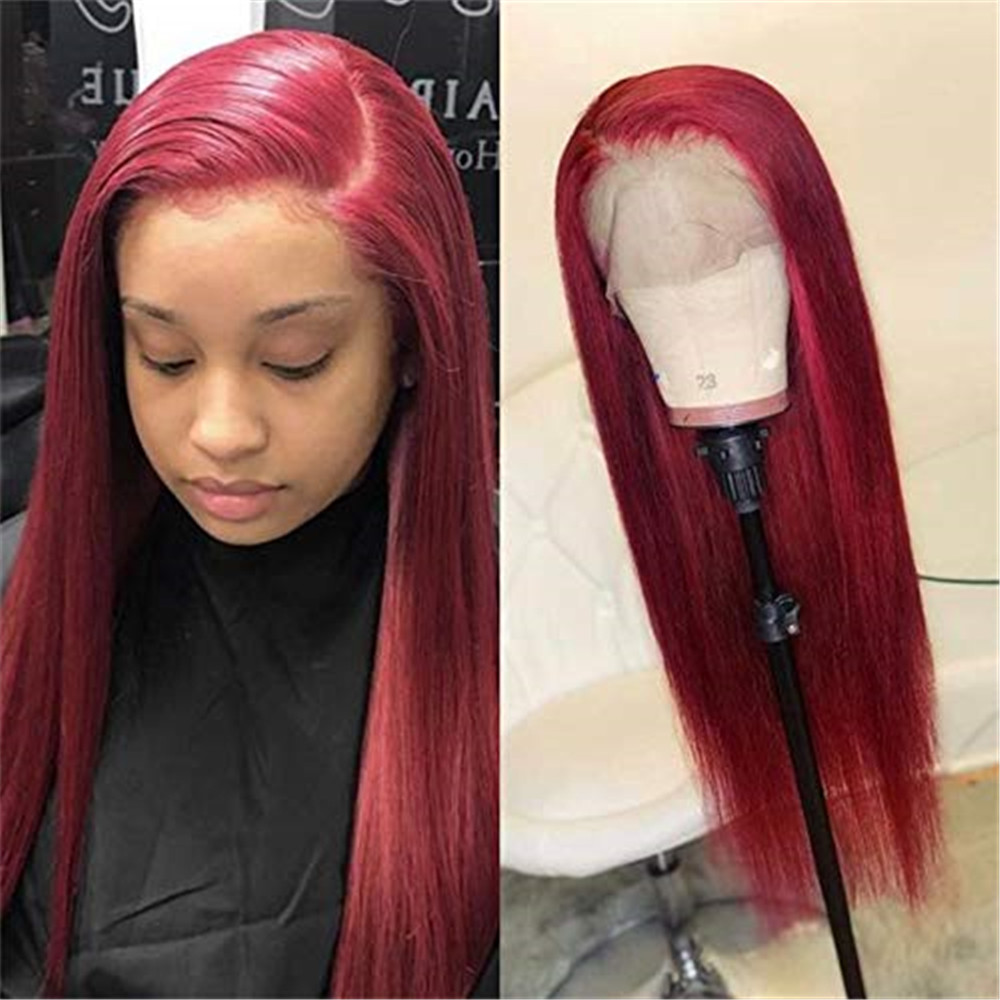 Red Colored Human Hair Wigs 13x6 Deep Part Lace Front Wig Glueless Pre Plucked with Baby Hair Silk Straight Brazilian Remy Hair