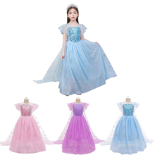 Christmas Girls Dress Elsa 2 Cosplay Party Vestidos Girl Clothing Elsa Costume Snow Queen Elsa Dress 3-10T froz 2en cosplay costume snow girl elsa dress costume halloween cosplay elsa anna costume princess ice queen outfit full set