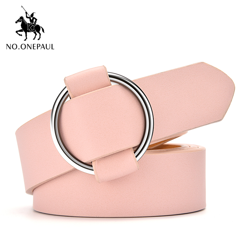 NO.ONEPAUL Fashion Round Ring Buckle Belt Woman High Quality Cowhide Genuine Leather Belts For Women Leisure Jeans Waist Belts