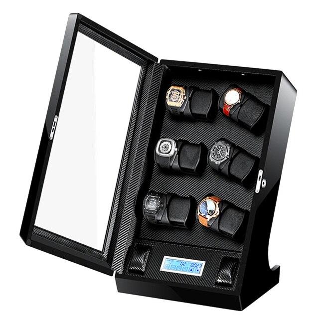 Auto ver caso devanadera reloj de madera caja de bobinadora laca girar Slient Motor reloj de visualización reloj enrollador