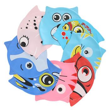 2021nowe słodkie dziecięce czepek w kształcie ryby czepek silikonowy dla chłopców i dziewcząt czepek wodoodporny tanie i dobre opinie CN (pochodzenie) Cartoon pływanie cap Silica gel Cartoon children swimming cap Animals Swimming wading 21x18x18cm