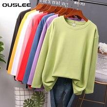 OUSLEE coton à manches longues t-shirt femmes décontracté basique femmes T-shirts couleurs solides haut femme mode coréenne t-shirt chemise de grande taille