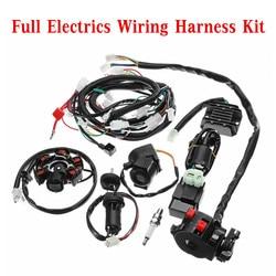 Pełna elektryka kable w wiązce krosna CDI cewka do GY6 150CC ATV Quad Buggy gokart z prostownikiem + przekaźnik elektromagnetyczny + wyłącznik zapłonu