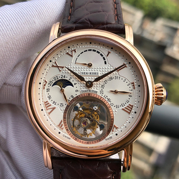 Tourbillion Watch Classics Clock Sugess Seagull Movement 8007 Gold Case 5ATM Waterproof Power Reserve Date Moon Phase Automatic 1