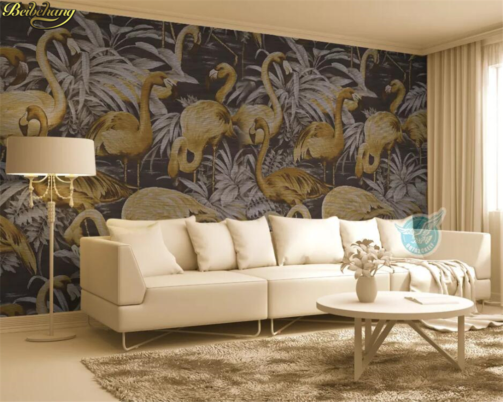 Beibehang Custom Wallpaper Mural Medieval Hand Painted Golden Flamingo Tropical Plant Leaves Papel De Parede Wall Papers Home