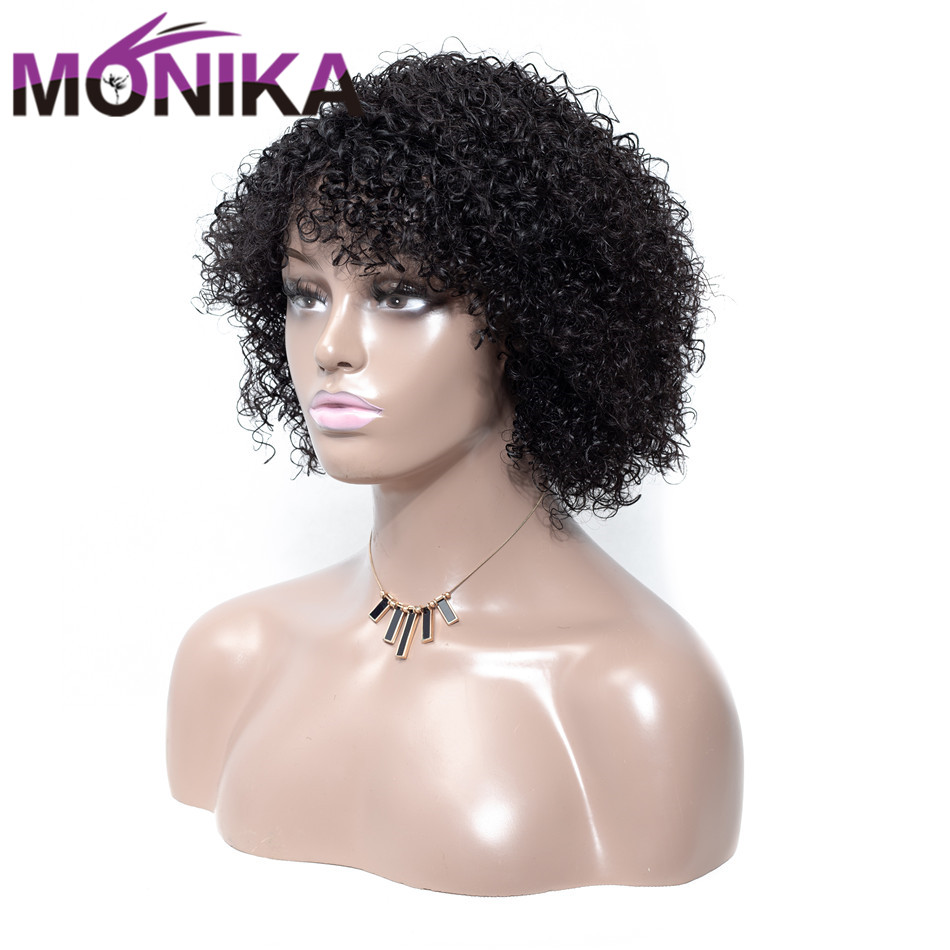 Monika Wig Brazilian Curly Human Hair Wigs Natural Color Machine Made Short Wigs For Women Non-Remy Hair Sassy Curl 150% Density