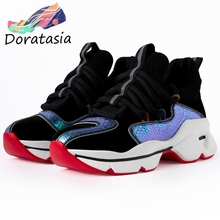 DORATASIA Brand New Genuine Leather Suede Sneakers Women Decorating Patchwork Dad Shoes Woman Casual Platform Flats