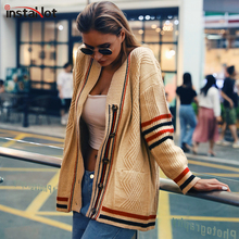 InstaHot Casual Shrug Knitted Cardigans Women Apricot Striped Sweater Loose Winter Female Outerwear Coat Autumn Open Stich