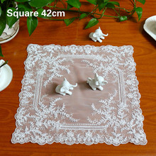 Square 42cm Exquisite Embroidery European Placemat Coaster Dust Cloth Balcony Coffee Table Mat Christmas Wedding Decoration