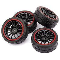 4 rodas do cubo dos pces 12mm & pneus de borracha para rc 1/10 em estrada que touring deriva carro r|Pneus| |  -