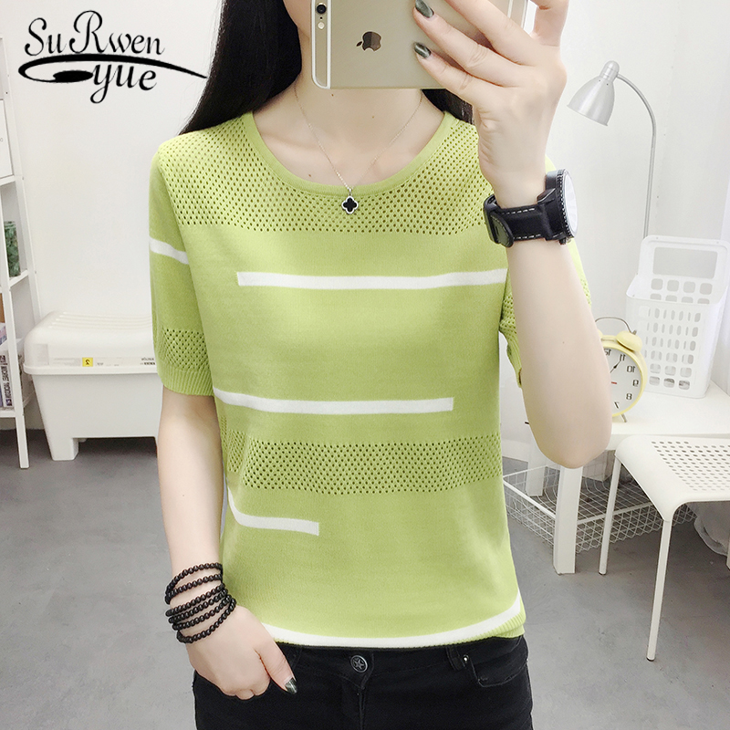 2020 Summer New Solid Lady's Short Sleeve Round Collar White Blouse Casual Loose Ice Silk Women Tops Blusa Mujer De Moda 8755 50