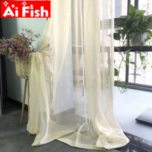 Modern Solid Gold Wire All -Match Window Treatments Tulle Living Room Curtains Beige Thin Sheer Kitchen Curtains Drapes  wp395#5