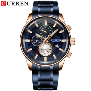 Image 3 - CURREN 시계 Mens 패션 스포츠 손목 시계 크로노 그래프 빛나는 손 시계 남성 시계 블루 스테인레스 스틸 밴드