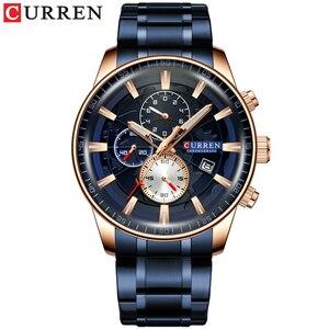 Image 3 - CURREN montre bracelet de sport pour hommes, avec chronographe, horloge de main lumineuse, bracelet en acier inoxydable bleu, tendance