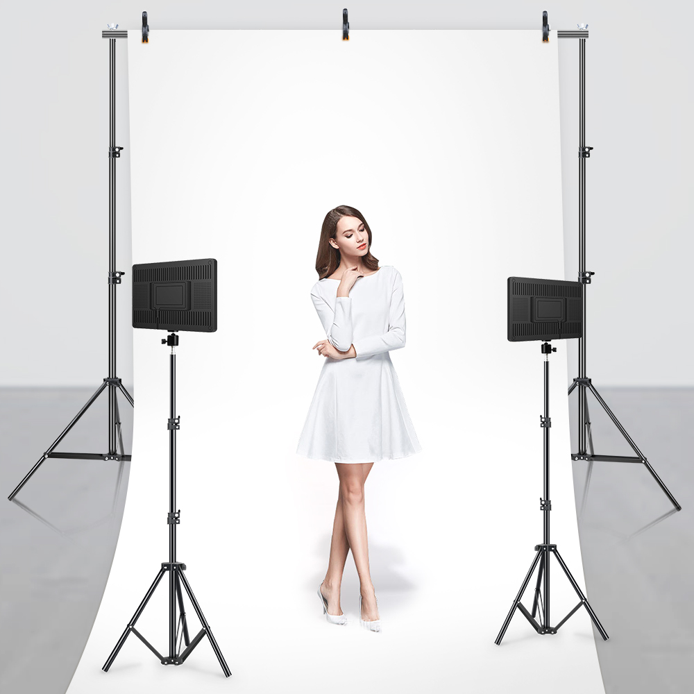 H92704561f20047a1b34cf3cc8b093852O LED Video Light With Professional Tripod Stand Remote Control Dimmable Panel Lighting Photo Studio Live Photography Fill-in Lamp