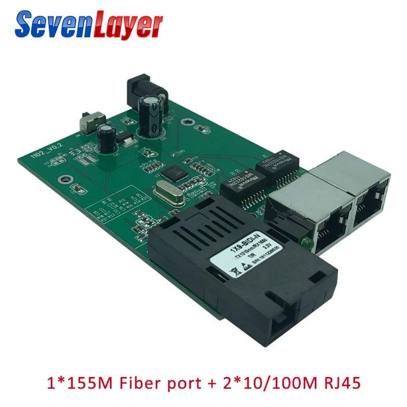 1 SC 2 RJ45  Fast Ethernet Switch 10/100M Fiber Optical 20KM Media Converter Single Mode Fiber Port Board PCB