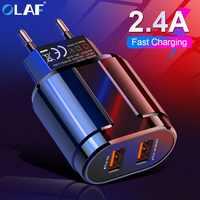 OLAF 5V 2.4A Carregador de Duas Portas USB UE Adaptador de Parede de Viagem Do Telefone Móvel Micro Dados cabo de Carregamento Para iphone Samsung xiaomi Huawei LG