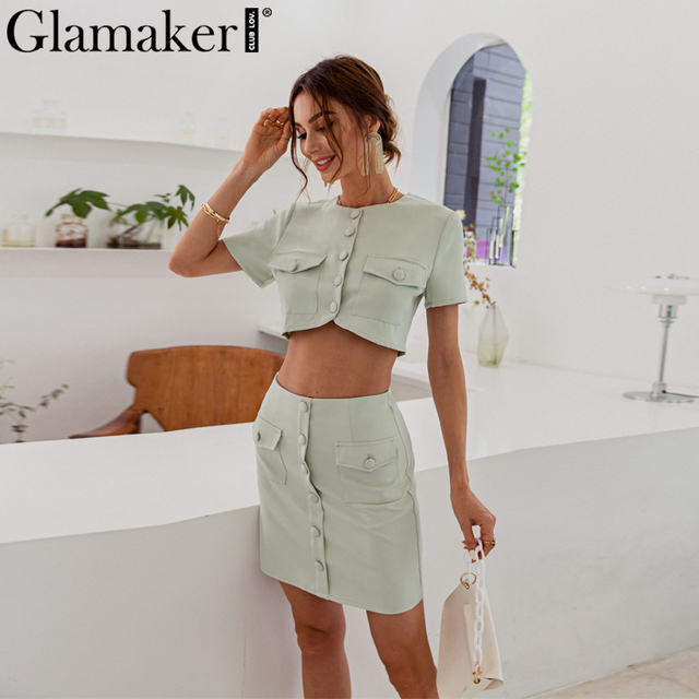 Glamaker Sexy pink short sleeve set female crop top and shorts 2 piece suits with pocket Office ladies elegant co ord outfits 6