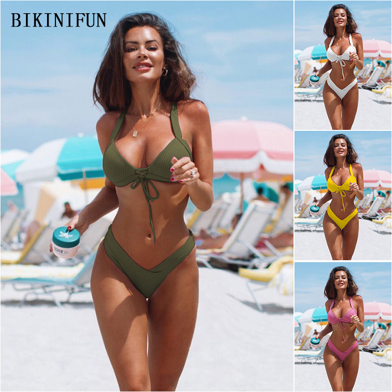 Women s Bikini Set,Ladies Halter Cut Out High Waisted Solid Backless Summer Swimsuit Bathing Suit